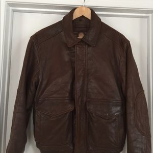 ANDREW MARC New York Brown Leather Bomber Mens Sm